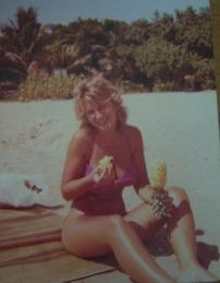 Eating Fresh Pineapple in Bali